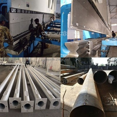 Production line for light pole